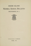 Rhode Island Normal School Catalog, 1910