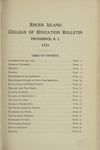 Rhode Island College of Education Bulletin, 1921