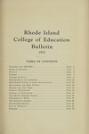 Rhode Island College of Education Bulletin, 1922