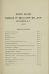 Rhode Island College of Education Bulletin, 1923