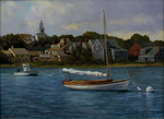 Waterfront Scene with Town