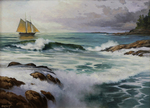 Large Sailboat and Heavy Surf