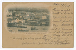 """Offices & coal yard of the S. Vicente (C. V. I.) Coaling Co. """"Wishing you every good and gladness this Yuletide and New Year."""""""