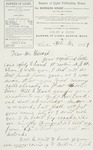 Letter to Joseph Peace Hazard, 1889-02-16