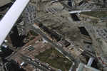 Aerial of fire-damaged Union Station and Capital Center redevelopment in progress.