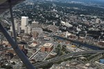 Aerial of downtown Providence looking east