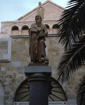 Bethlehem: Statue of Saint Hieronymous (Jerome) at Church of St. Catherine of Alexandria by Chet Smolski